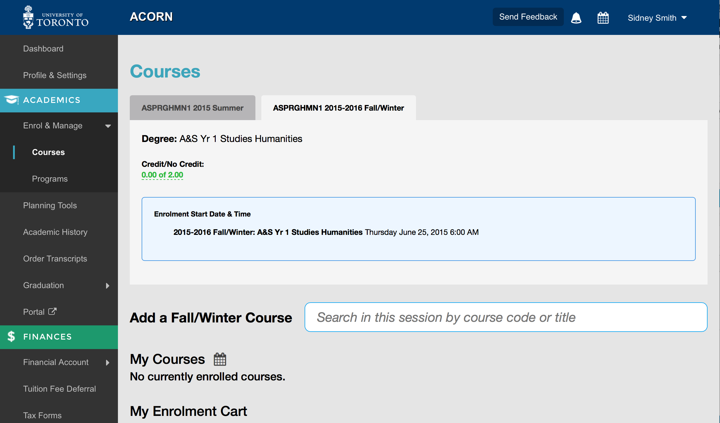 screenshot of start time on course enrolment page