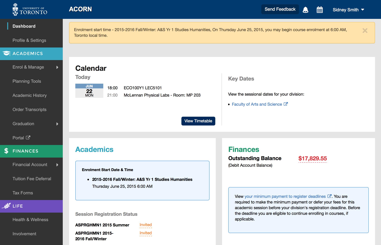 screenshot of start time on ACORN dashboard