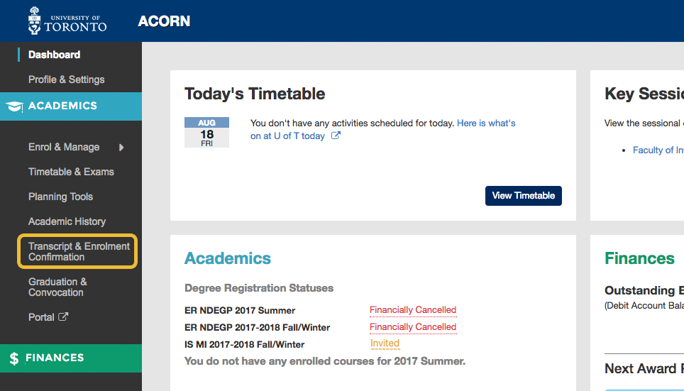 How do I generate a Confirmation of Enrolment letter on ACORN