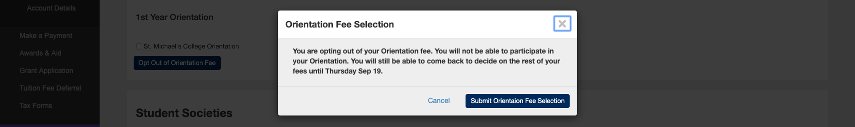 A confirmation regarding opting out of orientation